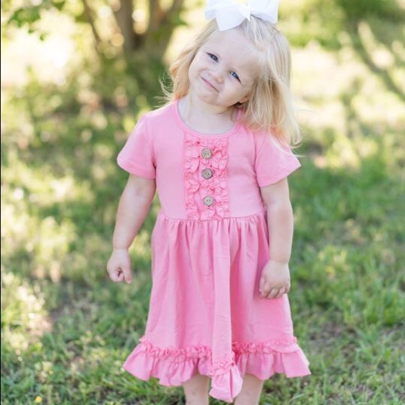 Other - Pink Coral Ruffle T-Shirt Short Sleeve Dress